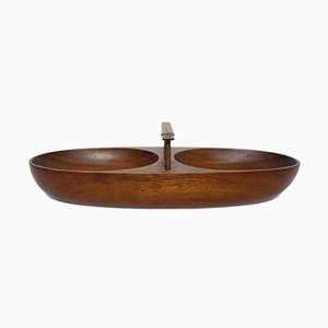 Vintage Teak, Brass & Leather Bowl by Carl Auböck for Werkstätte Carl Auböck