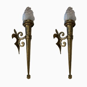 Antique Wrought Iron Sconces, Set of 2