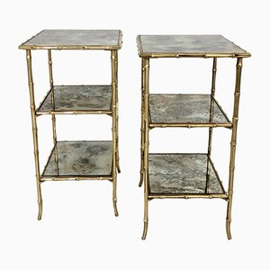 French Faux Bamboo 3-Tier Side Tables from Maison Baguès, 1960s, Set of 2