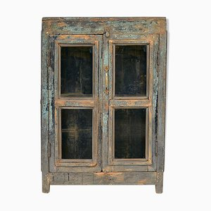 Patinated Wooden Showcase, 1940s