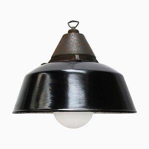 Lampe à Suspension Industrielle Vintage en Émail Noir et Fonte, 1950s
