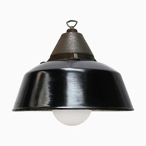 Vintage Industrial Black Enamel & Cast Iron Pendant Lamp, 1950s