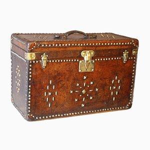 Antiker Hutkoffer aus Leder von Louis Vuitton