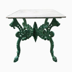 Green Cast Iron Coffee Table with Marble Top, 1940s