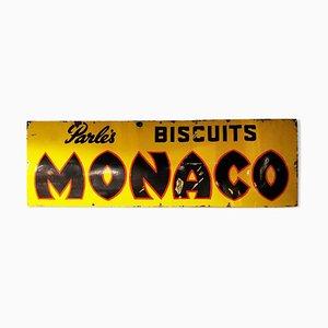 Cartel Monaco Biscuits esmaltado de Parle, años 40