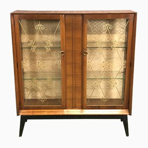 Walnut Display Cabinet with Compass Feet, 1970s