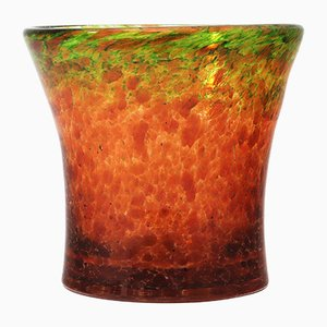 Art Deco Tangerine & Lime Aventurine Glass Vase by Salvador Ysart for Monart, 1930s