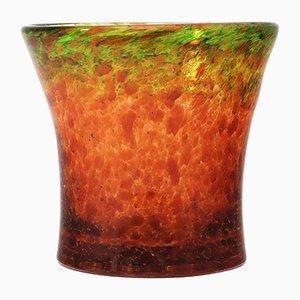 Vase Art Déco en Verre Orange et Vert par Salvador Ysart pour Monart, 1930s