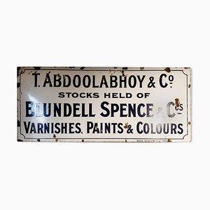 Cartel esmaltado de T. Abdoolabhoy & Co, años 40