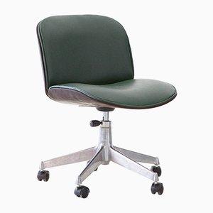 Drehbarer Schreibtischstuhl mit grünem Sitz aus Skai von Ico & Luisa Parisi für MIM, 1950er