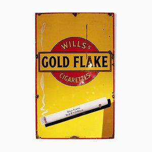 Cartel de cigarrillos dorada esmaltada, años 40