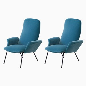 Italian Blue Velvet Lounge Chairs, 1950s, Set of 2