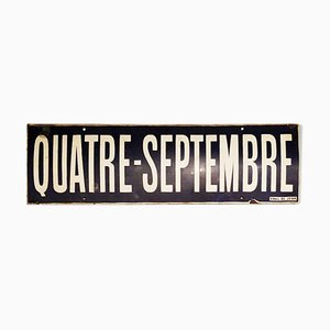 Enamel Quatre Septembre Metro Station Sign, 1970s