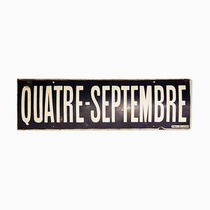 Señal de estación de metro Quatre Septembre esmaltada, años 70