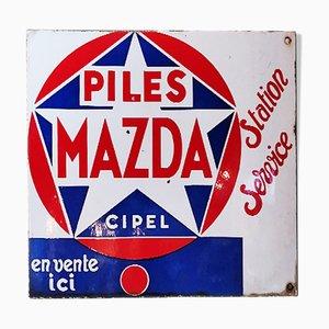 Señal publicitaria de doble cara esmaltada de Mazda Batteries, años 40