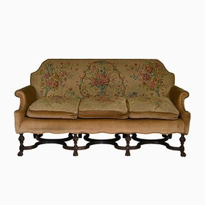Antique Needlework and Walnut Sofa