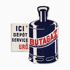 Enamel Butagaz Sign, 1930s