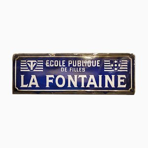 Enamel La Fontaine Girl's School Sign, 1930s