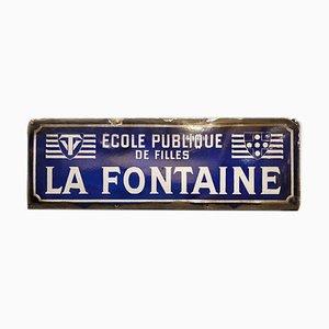 La Fontaine Mädchenschule Emailleschild, 1930er