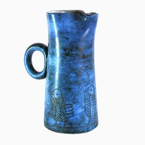 Blaue Vallauris Keramikkanne von Jacques Blin, 1950er