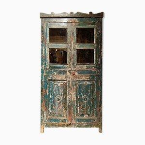 Armario de madera verde y vidrio, años 40