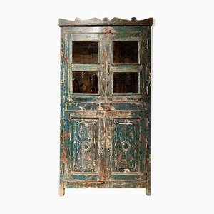 Green Wood & Glass Cabinet, 1940s