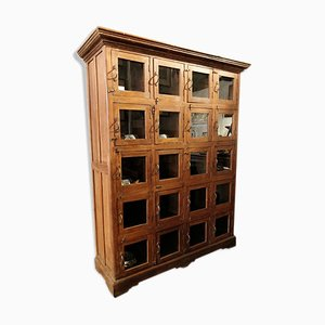 Wooden Cabinet with Glass Doors, 1940s