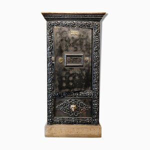 Antique Wood & Metal Safe Cabinet, 1850s