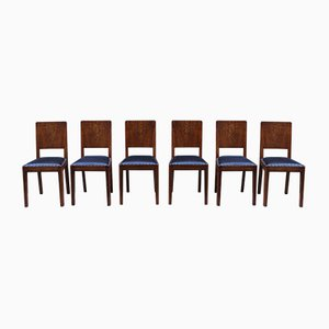 Vintage Italian Burr Walnut and Leather Dining Chairs, Set of 6