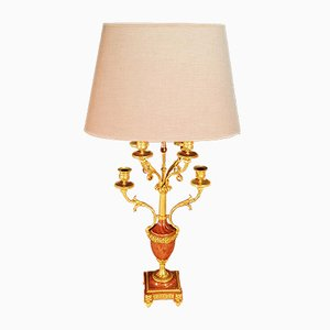 Antike Tischlampe aus vergoldeter Bronze & Marmor