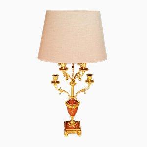 Lámpara de mesa antigua de bronce dorado y mármol