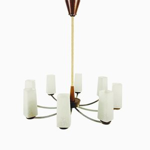 Mid-Century Teak and Opaline Glass 8-Arm Chandelier, 1960s