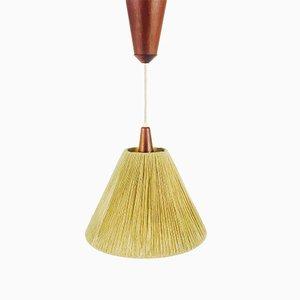 Vintage Teak & Rattan Ceiling Lamp from Temde, 1970s