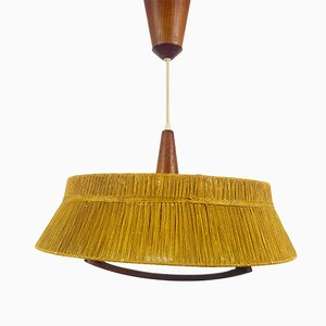 Vintage Teak & Cord Ceiling Lamp from Temde, 1970s
