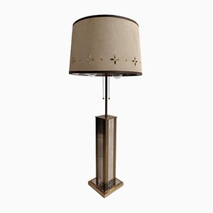 Lampada da tavolo in ottone e in metallo cromato di Gaetano Sciolari, anni '70