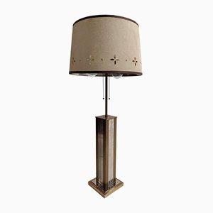 Lámpara de mesa de cromo y latón de Gaetano Sciolari, años 70