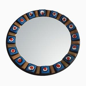Round Glazed Ceramic & Brass Mirror, 1950s