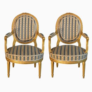 Antique Louis XVI Style French Lounge Chairs, Set of 2