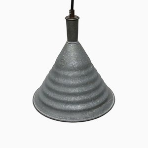 Vintage Industrial Grey Metal Pendant Lamp, 1950s