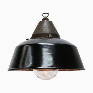 Vintage Industrial Black Enamel & Cast Iron Pendant Lamp, 1950s