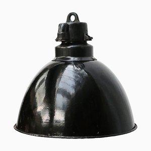 Vintage Industrial Black Enamel Pendant Lamp, 1930s