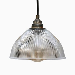 Industrial Glass Ceiling Lamp from Holophane, 1950s