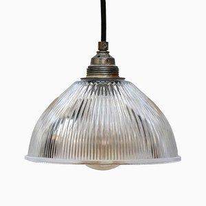 Industrielle Deckenlampe aus Glas von Holophane, 1950er