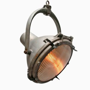 Vintage Industrial Cast Aluminium & Striped Glass Hanging Spotlight, 1950s