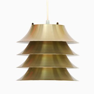 Danish Aluminum Multi-Layered Pendant Lamp, 1960s