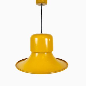 Italienische Deckenlampe aus gelbem Metall von Stilnovo, 1970er