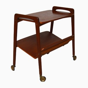 Vintage Teak Trolley Table with Magazine Rack from Opal Möbel