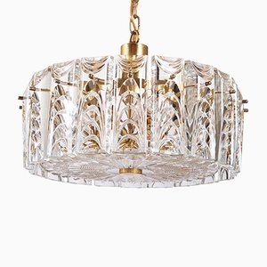 Mid-Century Danish Glass & Brass Chandelier from Vitrika, 1960s