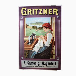 Art Nouveau Sewing Machine Poster from Gritzner