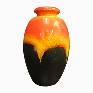 Large Mid-Century Orange 66/50 Vase from Bay Keramik